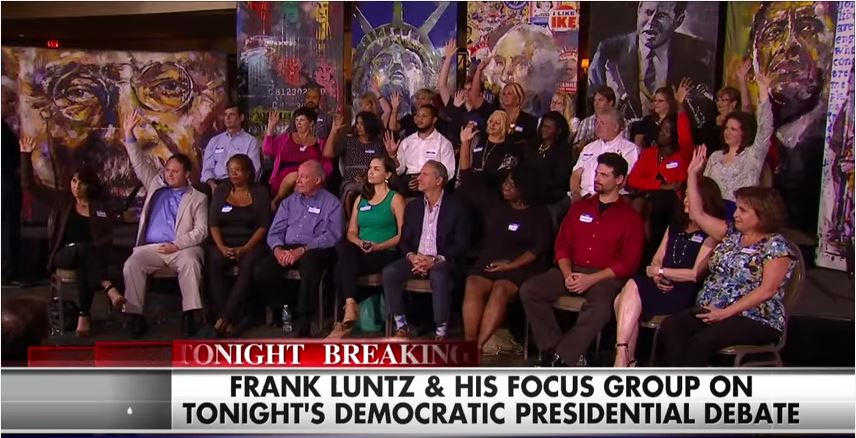 Luntz dial group FOX News 2015 Dem Debate